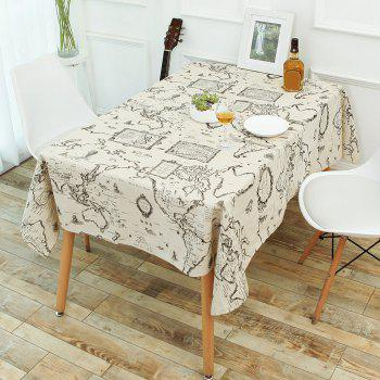 World Map Print Linen Table Cloth - GRAY W55 INCH * L71 INCH