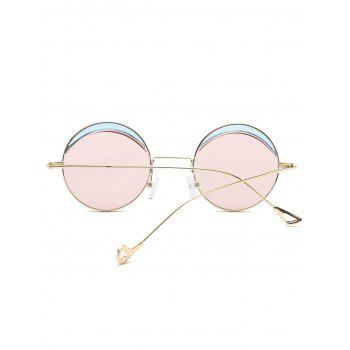 Two-tone Spliced Round Hollow Out Leg Sunglasses - LIGHT PINK