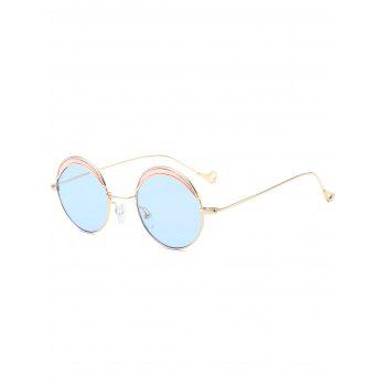 Two-tone Spliced Round Hollow Out Leg Sunglasses - LIGHT BLUE LIGHT BLUE
