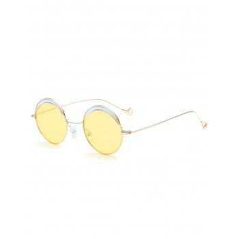 Two-tone Spliced Round Hollow Out Leg Sunglasses - LIGHT YELLOW LIGHT YELLOW