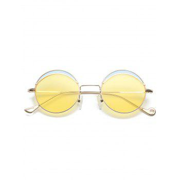 Two-tone Spliced Round Hollow Out Leg Sunglasses - LIGHT YELLOW