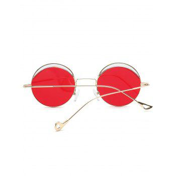 Two-tone Spliced Round Hollow Out Leg Sunglasses - BRIGHT RED