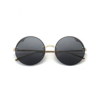 Metal Semi-rimless Round Sunglasses -  BLACK