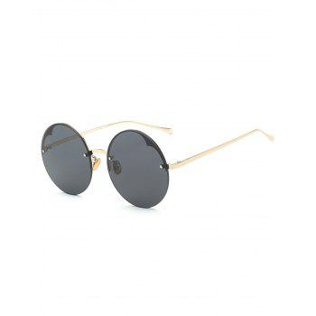 Metal Semi-rimless Round Sunglasses - BLACK BLACK