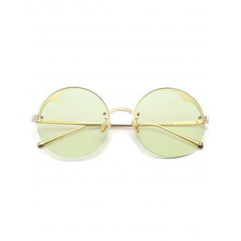 Metal Semi-rimless Round Sunglasses - LIGHT GREEN