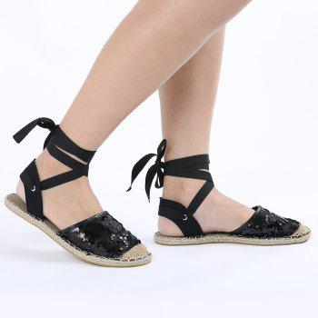Flat Mesh Lace Up Espadrilles