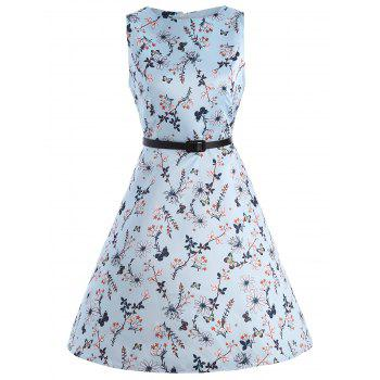 Vintage Floral Print Party Swing Dress