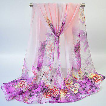 Gossamer Hand-painted Flowers Bloom Printed Scarf