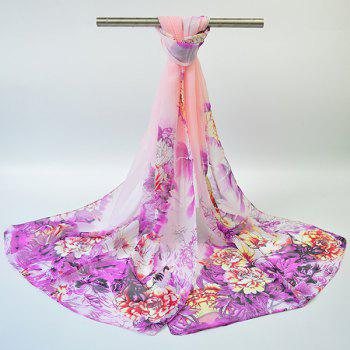 Gossamer Hand-painted Flowers Bloom Printed Scarf - PINKISH PURPLE