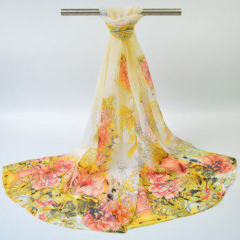 Gossamer Hand-painted Flowers Bloom Printed Scarf - YELLOW