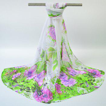 Gossamer Hand-painted Flowers Bloom Printed Scarf - WHITE