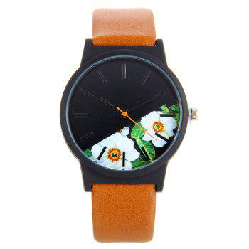 Flower Face Faux Leather Strap Watch