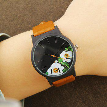 Flower Face Faux Leather Strap Watch -  BROWN