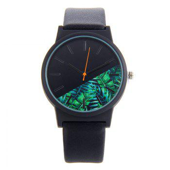 Faux Leather Tropical Leaf Face Watch - BLACK BLACK