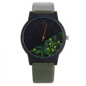 Floral Face Faux Leather Watch - ARMY GREEN ARMY GREEN