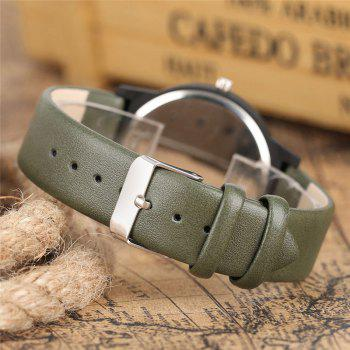 Floral Face Faux Leather Watch -  ARMY GREEN