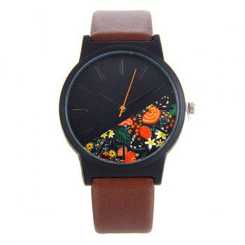 Faux Leather Watch With Flower Face