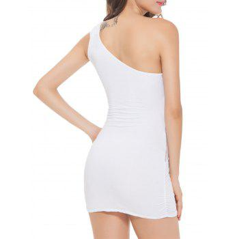 One Shoulder Bodycon Mini Lingerie Dress - WHITE WHITE