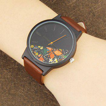 Faux Leather Watch With Flower Face -  BROWN