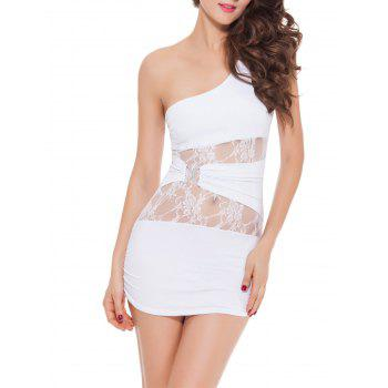 One Shoulder Bodycon Mini Lingerie Dress - WHITE XL