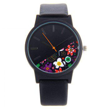 Floral Face Faux Leather Analog Watch - BLACK BLACK