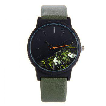 Flower Face Faux Leather Quartz Watch - ARMY GREEN ARMY GREEN