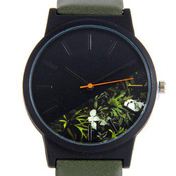 Flower Face Faux Leather Quartz Watch -  ARMY GREEN