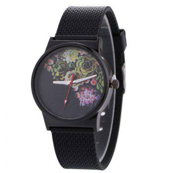 Succulents Flower Face Canvas Watch - BLACK BLACK