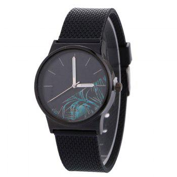 Tropical Plant Face Canvas Watch - BLACK BLACK