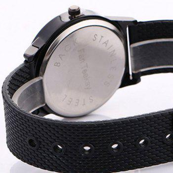 Canvas Watch With Flower Face -  BLACK