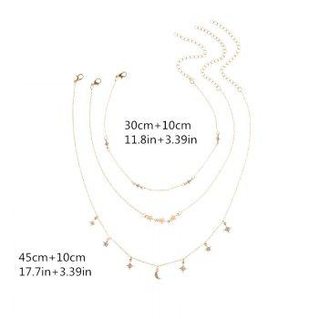 Rhinestone Moon Sun Star Necklace Set - GOLDEN