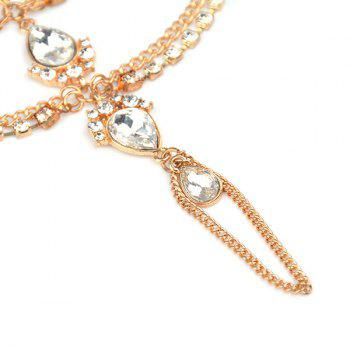 1PC Artificial Gem Teardrop Fringed Slave Anklet -  GOLDEN