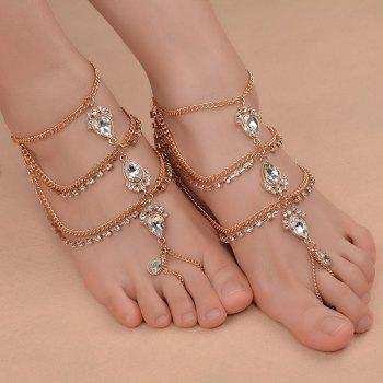 1PC Artificial Gem Teardrop Fringed Slave Anklet