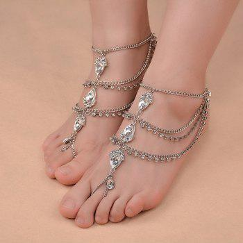 1PC Artificial Gem Teardrop Fringed Slave Anklet - SILVER SILVER