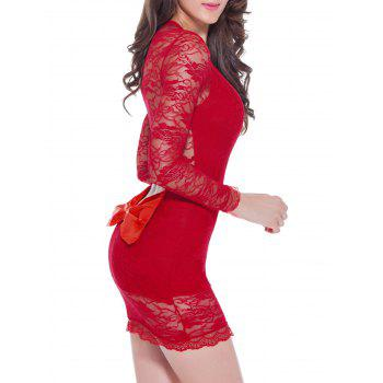 Lace Long Sleeve Bowknot Sleep Dress - RED RED