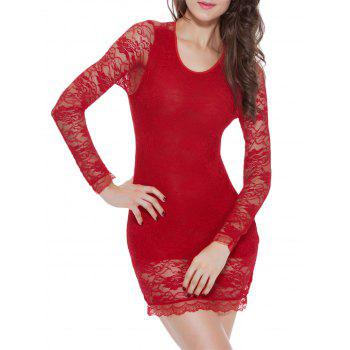 Lace Long Sleeve Bowknot Sleep Dress - RED L