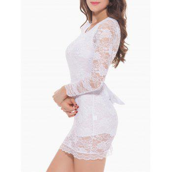 Lace Long Sleeve Bowknot Sleep Dress - XL XL