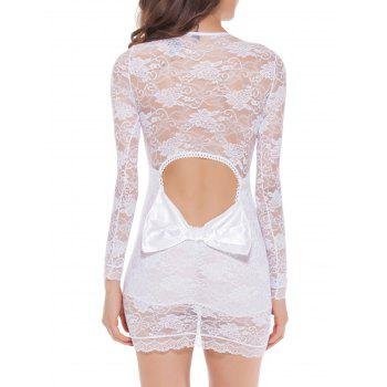 Lace Long Sleeve Bowknot Sleep Dress - 2XL 2XL