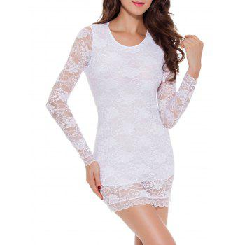 Lace Long Sleeve Bowknot Sleep Dress - WHITE 2XL