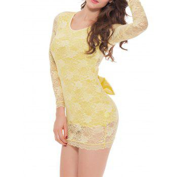 Lace Long Sleeve Bowknot Sleep Dress - L L