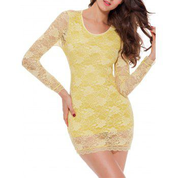 Lace Long Sleeve Bowknot Sleep Dress - YELLOW L