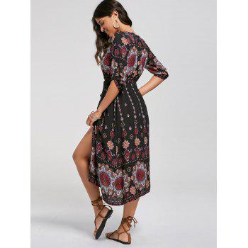 Bohemian Tribal Print Button Down Dress - L L