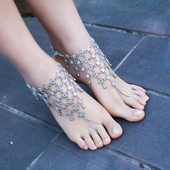 1PC Chinese Knot Rhinestone Slave Anklet -  SILVER