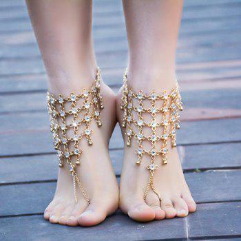 1PC Chinese Knot Rhinestone Slave Anklet - GOLDEN GOLDEN
