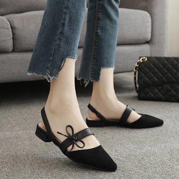 Bowknot Suede Mary Jane Slingback Flat
