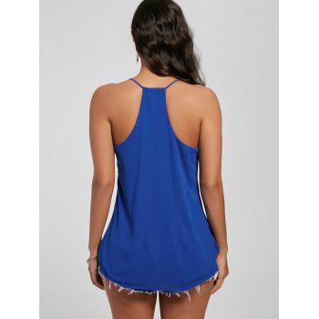 Ruffles Chiffon Wrapped Tank Top - Bleu L