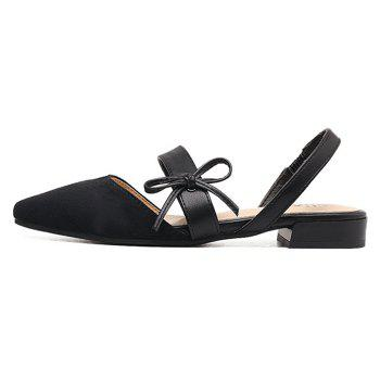 Bowknot Suede Mary Jane Slingback Flat - Noir 40