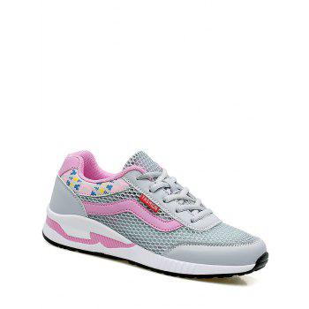 Breathable Geometric Pattern Athletic Shoes - GRAY 37