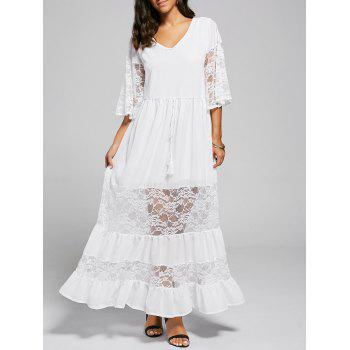 Lace Trim A Line Maxi Party Dress - WHITE S