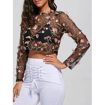 Embroidery Long Sleeve See Thru Shirt